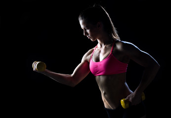 woman athlete with weights