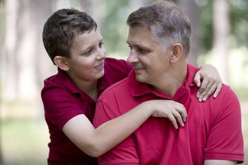 Father son hug