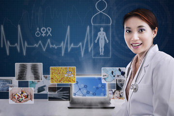 Attractive female doctor presenting medical photos