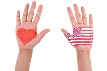 Hands with a painted heart and united states flag, i love usa co