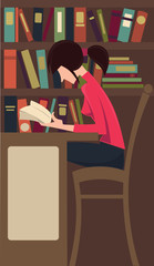 vector commercial illustration with image of girl studying in li
