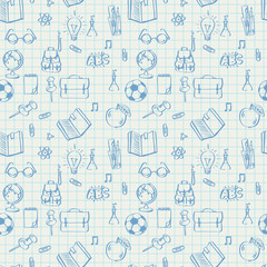 Seamless school pattern on math paper, vector Eps10 image.