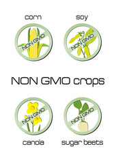 Non GMO crops set of signs for corn, soy, canola, sugar beets