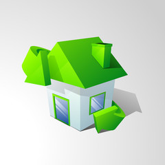 Save nature concept with small house surrounded by green arrow.