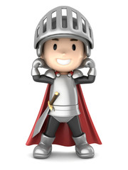 Foto op Canvas Ridders 3d render of a cute knight boy