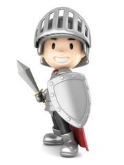 Foto op Canvas Ridders 3d render of a cute knight boy