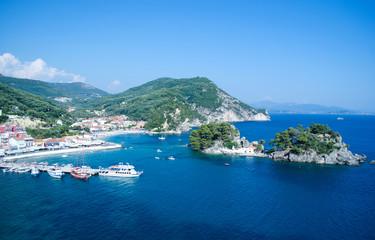 Panagia island in Parga Greece and city harbor
