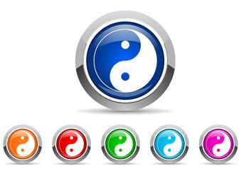 ying yang icon set