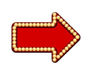 Red arrow with light bulbs