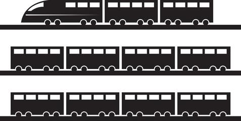 Modern train on tracks silhouette