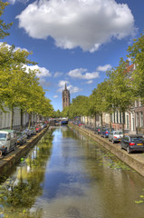 Canal and Church in Delft