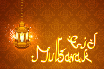 vector illustration of illuminated lamp for Eid Mubarak