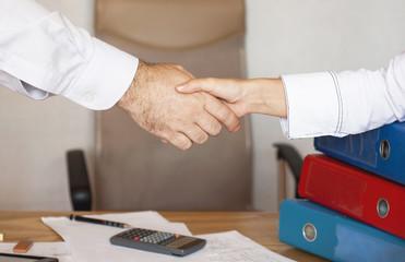Handshake betwwen a businessman and a business woman