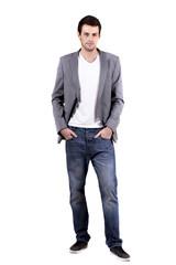 Fototapeta young man on white