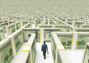 Businessman in Financial Maze Labyrinth made of  usd banknotes