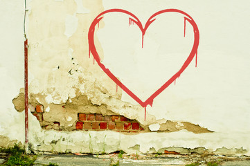 heart on old wall