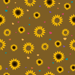Seamless Vector Pattern with Abstract Sunflowers