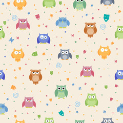 Seamless Vector Pattern with Abstract Owls