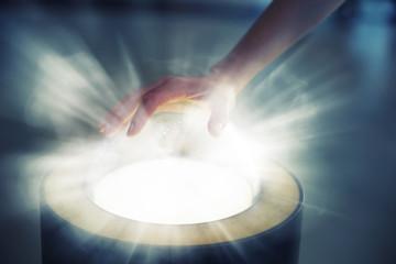 Pushing futuristic glass button