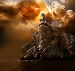 Fotobehang Kasteel Lightning over the castle