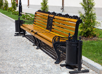 Bench in city street. Russia