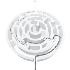 Vector illustration of a simple white maze