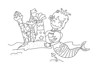 hand drawn little mermaid & her sandy castles vector