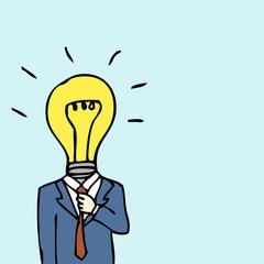 Businessman Lightbulb Head