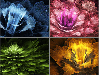 Wall Mural - Four abstract flower banners