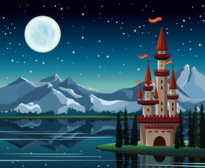 Starry night with full moon and castle