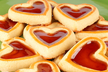 Heart shaped cherry jam cookies