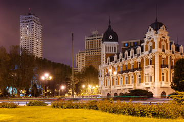 Night view of Spain Square in Madrid,=