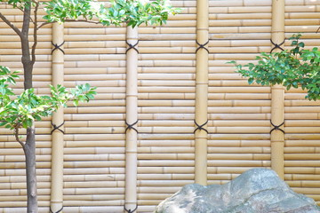 bamboo fence in Japanese garden