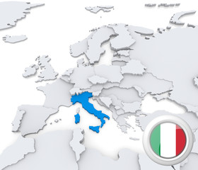 Italy on map of Europe