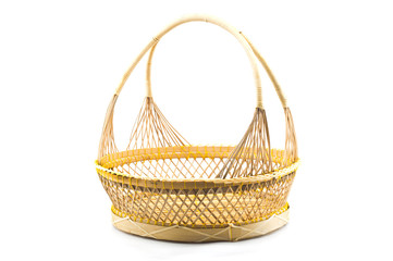 Rattan basket isolated.