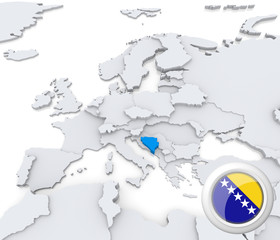 Bosnia and Herzegovina on map of Europe