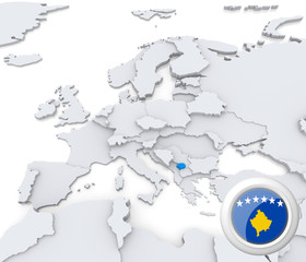 Kosovo on map of Europe