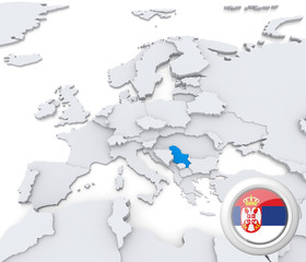 Serbia on map of Europe