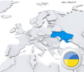 Ukraine on map of Europe