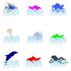 sea animal icon vector illustration