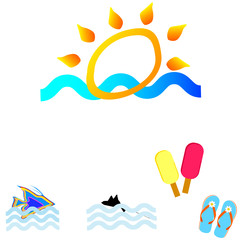 sun and summer icon vector illustration