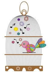 Recess Fitting Birds in cages Birdcage with bird.
