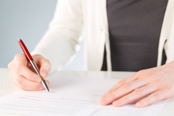 Signing a contract or a document