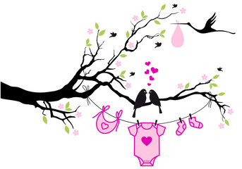 baby girl with birds on tree, vector