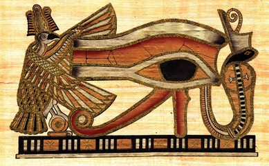 Symbol of Eye of Ra godhood painted at papyrus