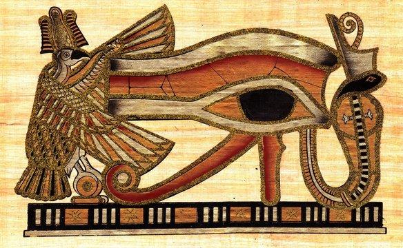 Symbol of Eye of Ra godhood painted at papyrus
