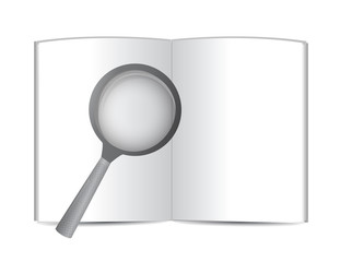 open book and magnify glass. illustration