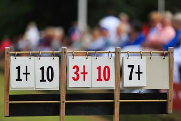 Scoreboard at a lawn bowls tournament