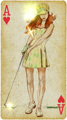 Golf player (Autumn Day). Hand drawn illustration on old card.