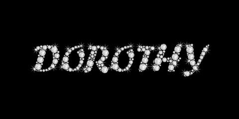 the name DOROTHY in bling diamonds font style word